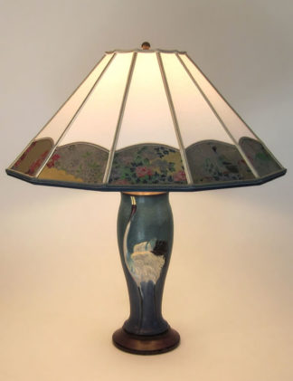 t252 Ephraim Faience Crane Dance art pottery lamp base, Parchment Paper with Blue Tsuru border lamp shade