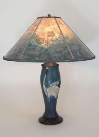 "t252a Contemporary Arts & Crafts Lamp, Ephraim Faience Dancing Crane Pottery with ""Crane Habitat"" Mica Lamp shade"