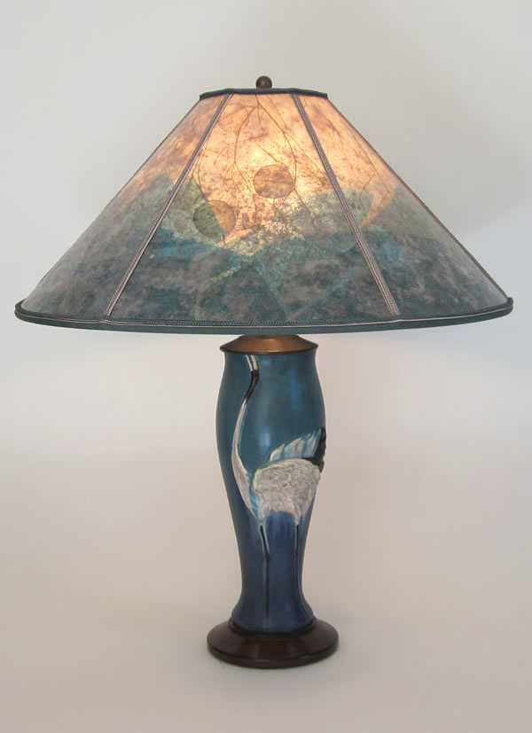 T252a Contemporary Arts Crafts Lamp Ephraim Faience Dancing Crane Pottery With Habitat