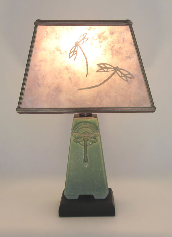 Small Green Dragonfly Roycroft Arts Amp Crafts Pottery Lamp