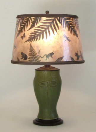 "t272 Lonesomeville Potters Ceramic Light Green Dragonfly Lamp, Round mica shade, ""Pond Scene"", by Lynn Duncan"