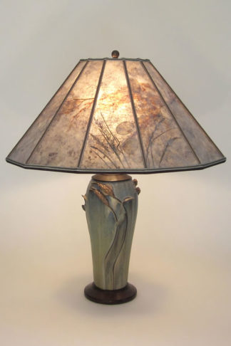 "t276 Green Arts and Crafts Ephraim Faience Pottery Lamp with ""Moon over the Grasslands"" Mica Lampshade"
