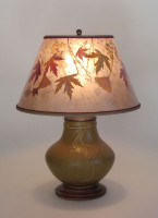 t283 Ginkgo Pottery Lamp, Mica Shade with Colorful Fall Leaves