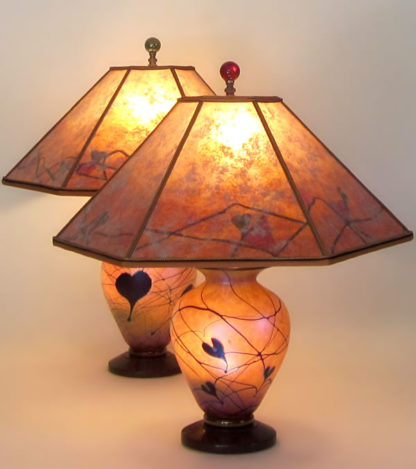 T285ab Hearts Galore and Hearts For You Art Glass Lamps with Mica Lamp Shades