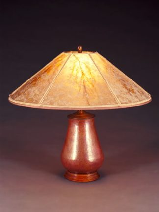 t81 Mexican Copper Table Lamp, Round Mica Lampshade