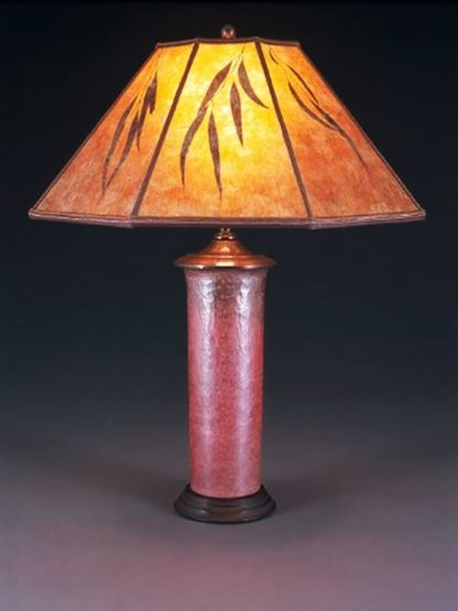 t98 Mexican hammered copper table lamp, Mica Lampshade with Eucalyptus Leaves