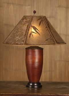 T152 Asian Red Bamboo Table Lamp, Mica Lampshade With Hand Cut Bamboo Design