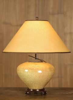 t153a Asian Gold Raku Table Lamp, Toned Parchment Paper Lampshade