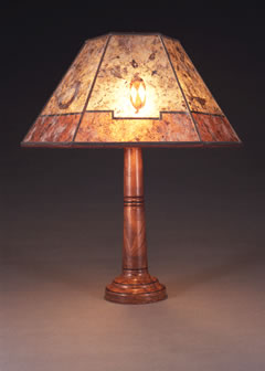 Amazing Hand Turned Wooden Table Lamp, Southwestern Lampshade