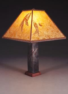 t53 Asian Metal Accent Lamp, Amber Mica Square Lampshade with Hand-cut Eucalyptus and Ladybug Design