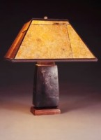 t54 Asian Table Lamp, Amber Mica Square Lampshade with Hand-cut Dandelion Design