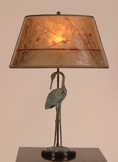 t70 Verdigris Crane, bird table lamp and Oval Mica Lamp shade