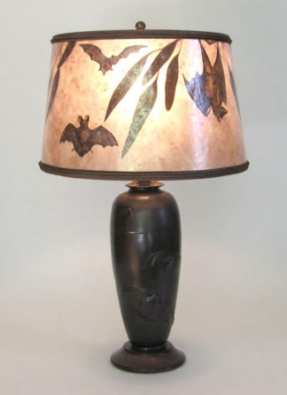 Antique Table Lamp And Mica Lamp Shade With Bat Design