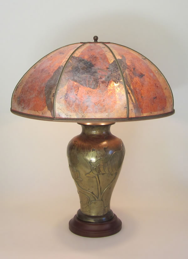 Antique Brass Table Lamp Mica Lampshade With Big Leaf Design