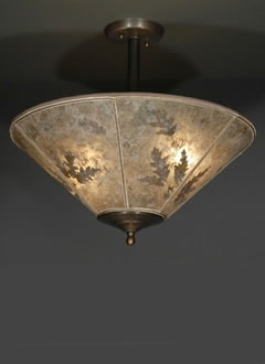 Natural oak leaves round mica lamp shade ceiling light fixture natural oak leaves round mica lamp shade ceiling mozeypictures Image collections