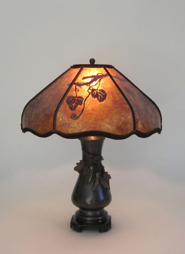 Oxidized Brass Antique Table Lamps Bitter Melon Mica Lamp Shade