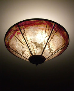 c164 mica lamp - Cranes at dusk