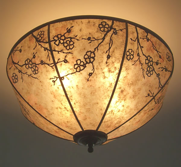 Natural Mica Cherry Blossom Lamp Shade Ceiling Light