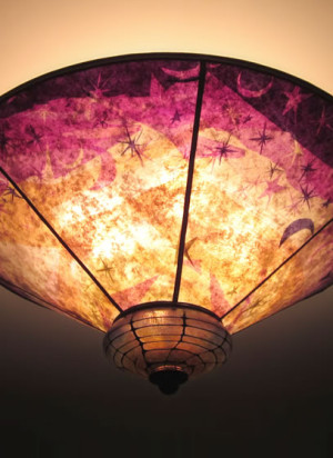 Sun Moon and Stars Purple & Gold Mica & hand-blown glass ceiling ...