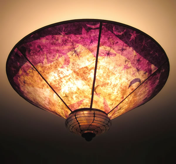 Sun moon and stars purple gold mica hand blown glass ceiling sun moon and stars ceiling lamp shade aloadofball Image collections