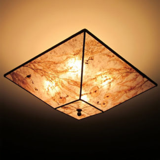 Maidenhair Fern Square Mica Lamp Shade Ceiling Light