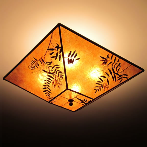 Square amber mica ceiling lamp shade with natural california pepper in the woods natural leaves square mica ceiling lamp shade aloadofball Gallery