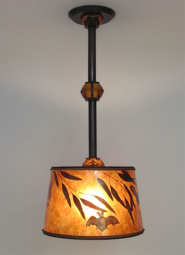 Mica Hanging Ceiling Light Fixture with Bats!