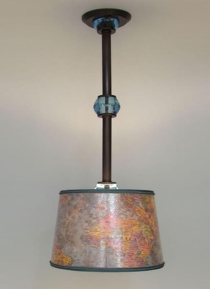 Mica World Map Lamp Shade & Brass and Blue Glass Hanging Light Fixture