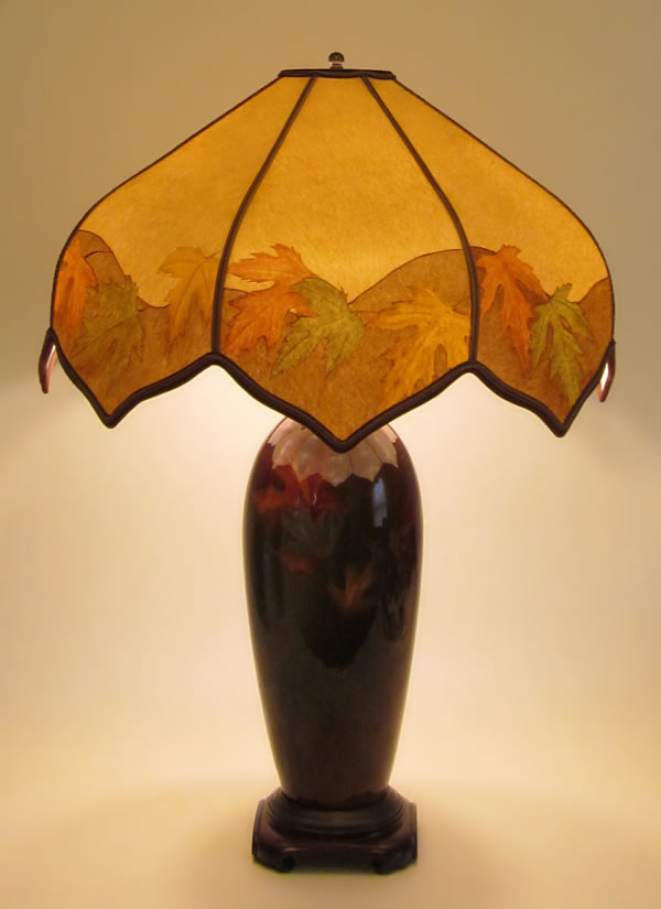Antique weller pottery lamp louwellsa hand painted autumn colors antique weller pottery lamp louwellsa hand painted autumn colors parchment paper lamp shade aloadofball Image collections