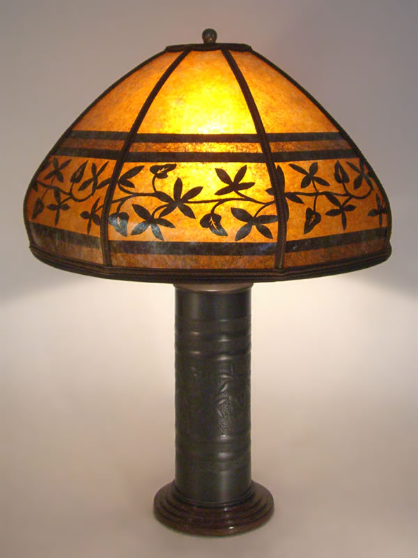 Lg T000 Antique Brass WW1 Trench Art Lamp U0026 Bent Mica Lamp Shade