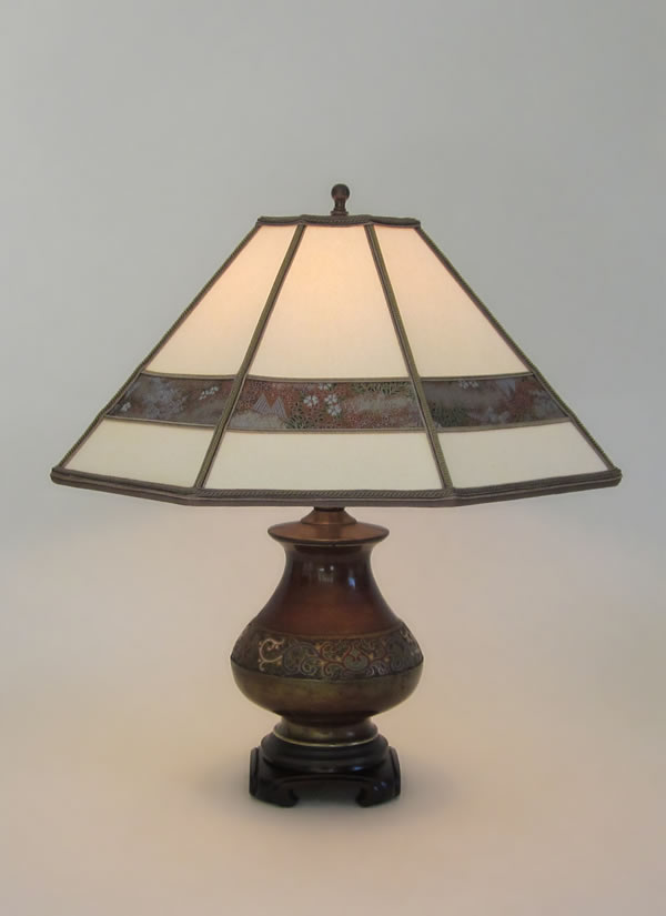 Small Antique Champlev 233 Table Lamp Parchment Paper Lamp