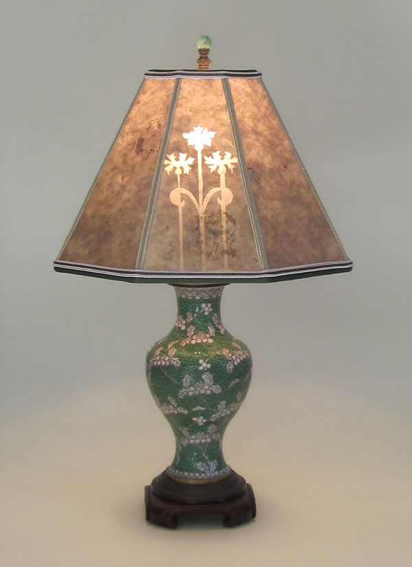 Antique Green And White Cloisonne Table Lamp Mica Lamp Shade