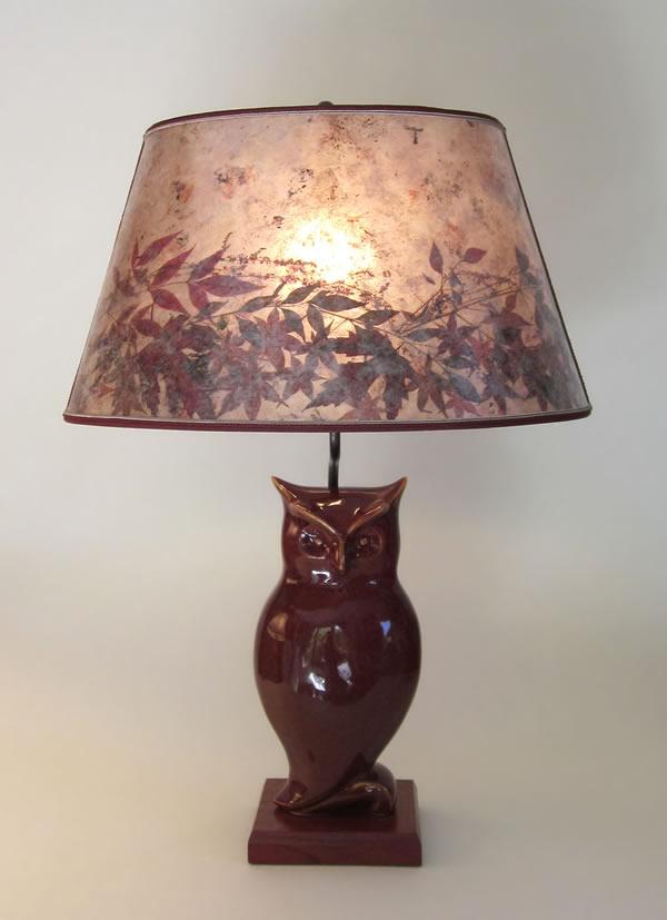 Rustic Deep Red Antique Ceramic Owl Lamp ...
