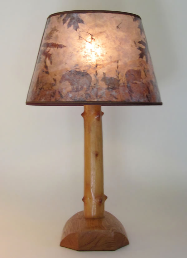 Vintage Western Rustic Wooden Lamp Oval Mica Shade With