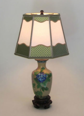 Superb Gold Cloisonné Table Lamp With Blue Peony Parchment Lampshade With  Decorative Paper Trim