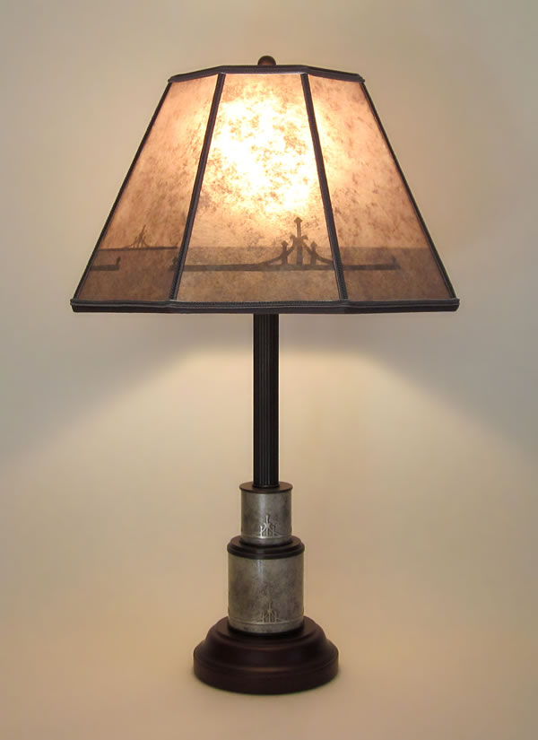 Heintz Antique Silver Table Lamp With Abstract Design Etched On