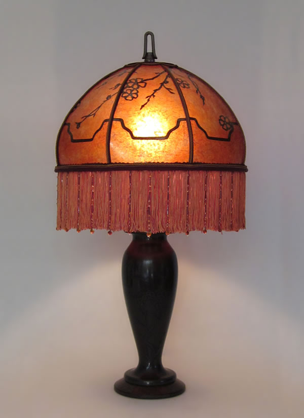 Bronze On Bronze Metal Table Lamp With Floral Design Amber Mica