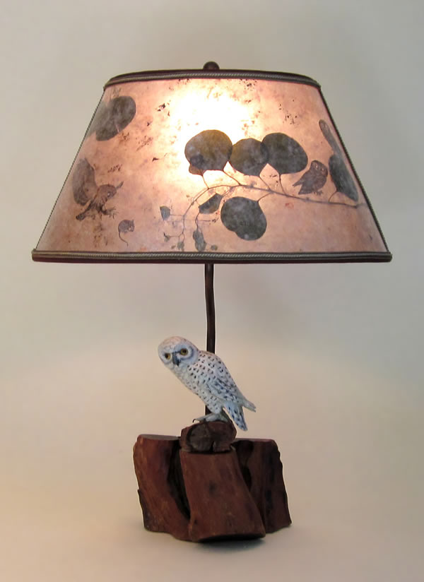 handcarved and painted white owl lamp light mica oval lampshade