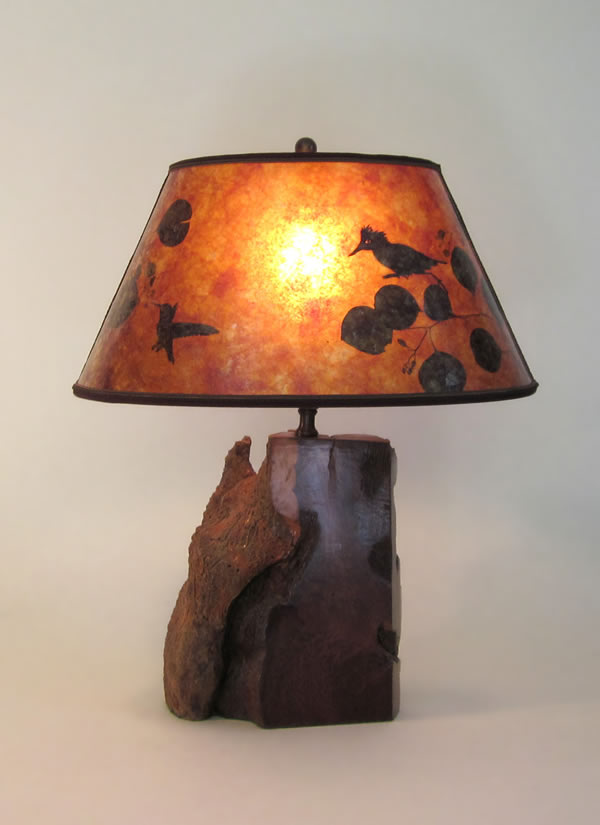 Vintage Rustic Wood Lamps Redwood Burl Amber Mica Oval