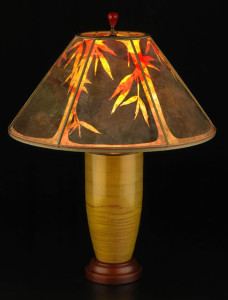 t152b- Gold Bamboo sunset lampshade