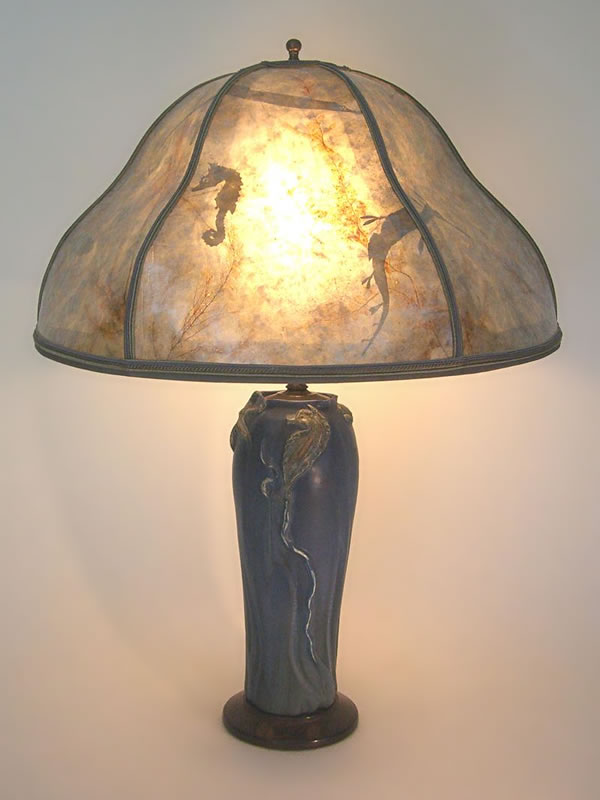 New Arts & Crafts table lamp: Ephraim Faience Art pottery Sea Horse  CN33