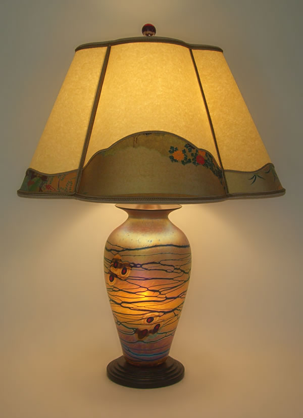 Lindsay fine art glass table lamp base with tsuru paper and lindsay art glass table lamp with parchment paper and tsuru paper lamp shade aloadofball Images