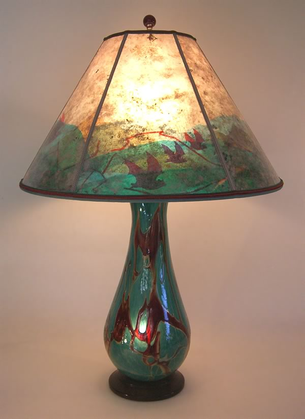 Chaos Art Glass Table Lamp And Art Mica Lampshade Bats