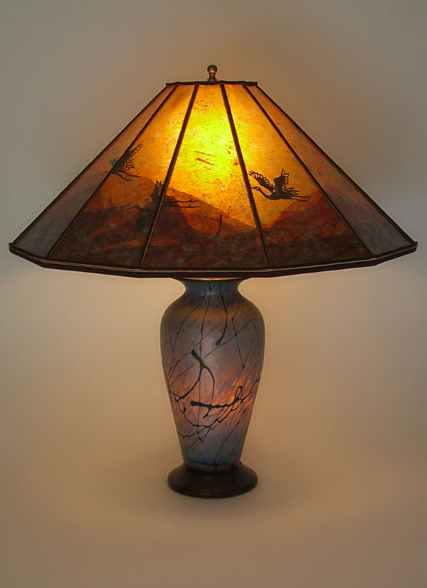Lindsay fne art glass lamp and art mica lamp shade cranes at sunset lindsay fine art glass lamp mozeypictures Image collections