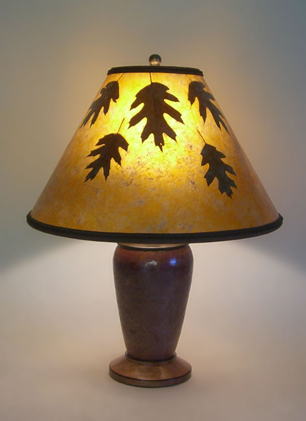 Mexican Copper Lamp Amber Mica Lamp Shade With Oak Leaves