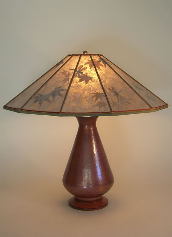Hand hammered recycled copper table lamp with mica lampshade