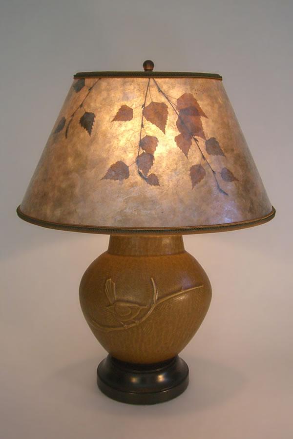Bewicks wren pottery bird lamp oval lamp shade sue johnson custom bewicks wren pottery bird lamp oval lamp shade aloadofball Choice Image