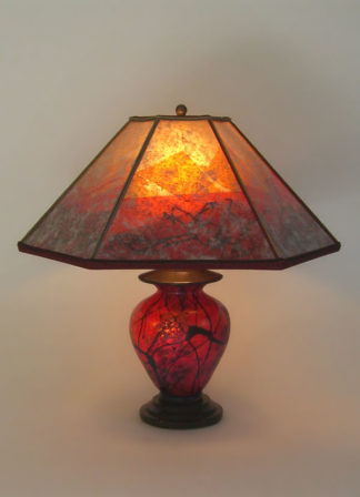 Large Hammered Recycled Copper Table Lamp Maple Leaves Mica Lamp Shade Sue Johnson Custom Lamps Amp Shades