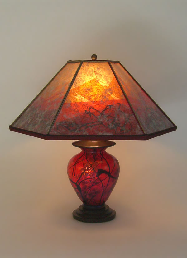 Lindsay Small Brilliant Red Art Glass Lamp Amp Six Panel