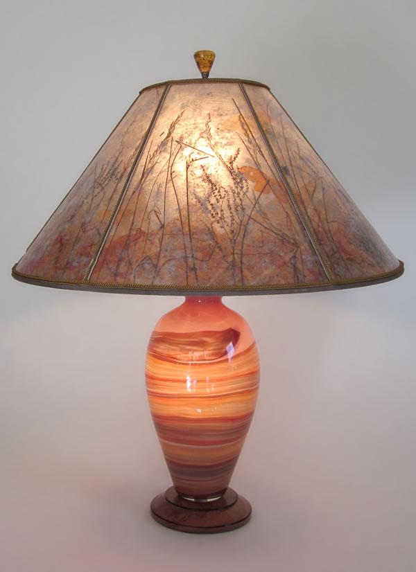 Pink Desert Lindsay Art Glass Table Lamp amp Mica Lamp